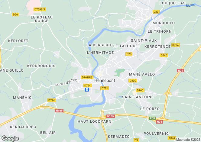 Map for hennebont, Morbihan, France