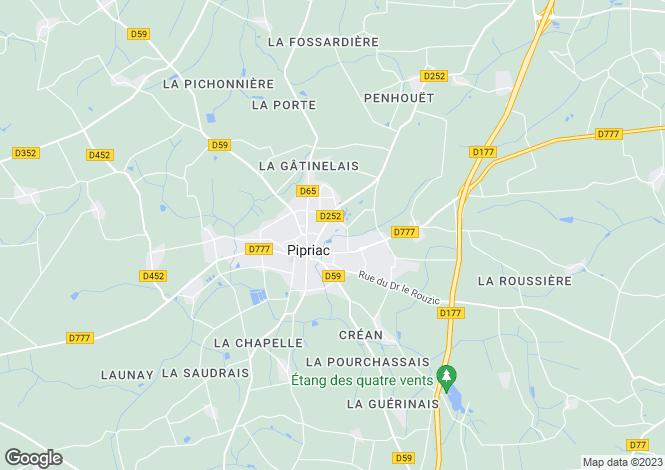Map for pipriac, Ille-et-Vilaine, France