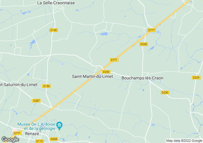 Map for Pays de la Loire, Mayenne, St-Martin-du-Limet