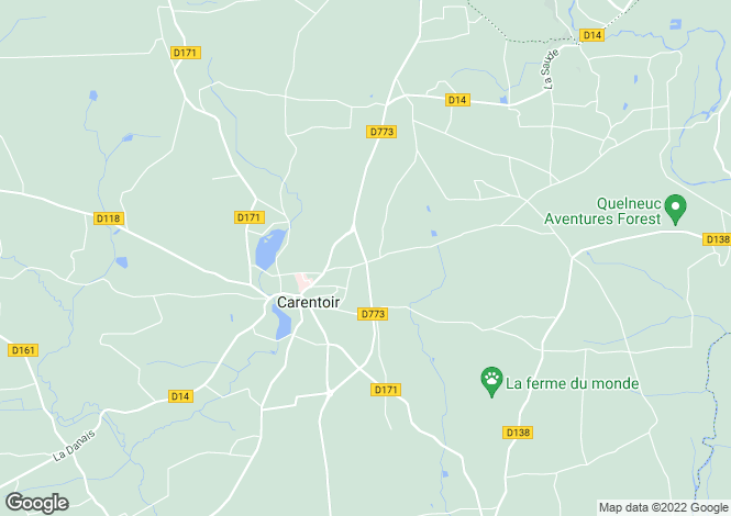 Map for carentoir, Morbihan, France