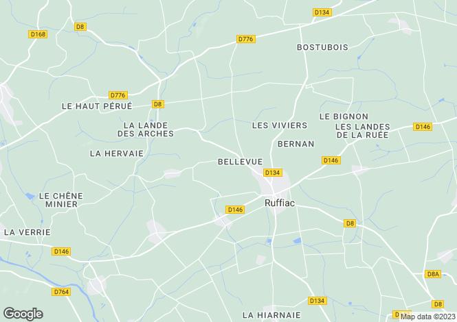 Map for Ruffiac, Morbihan, 56140, France