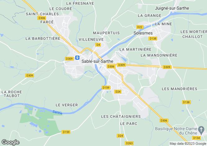 Map for Pays de la Loire, Sarthe, Sablé-sur-Sarthe