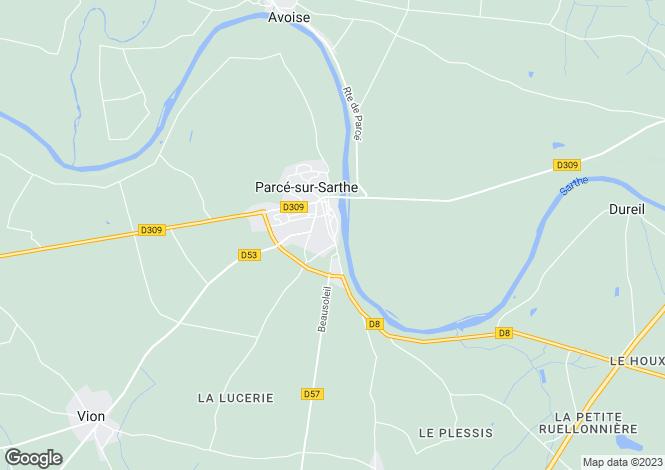 Map for Parcé-sur-Sarthe, Sarthe, Pays de la Loire