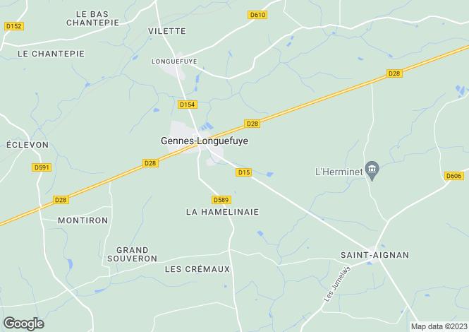 Map for gennes-sur-glaize, Mayenne, France