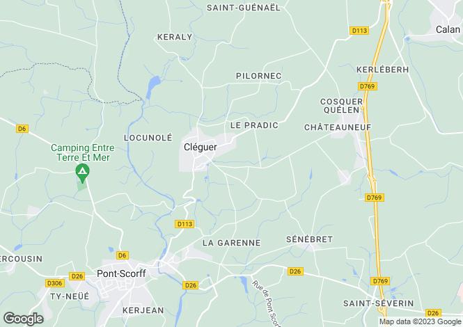 Map for cleguer, Morbihan, France