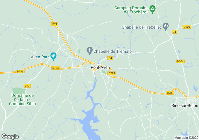 Map for pont-aven, Finistère, France