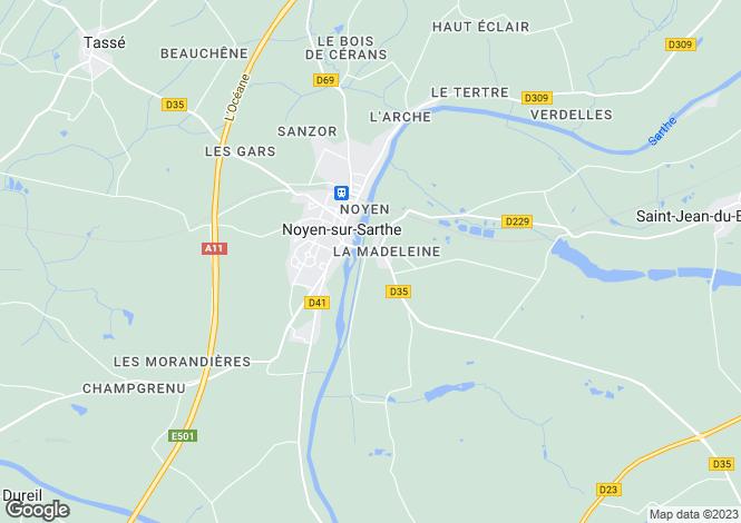 Map for Pays de la Loire, Sarthe, Noyen-sur-Sarthe