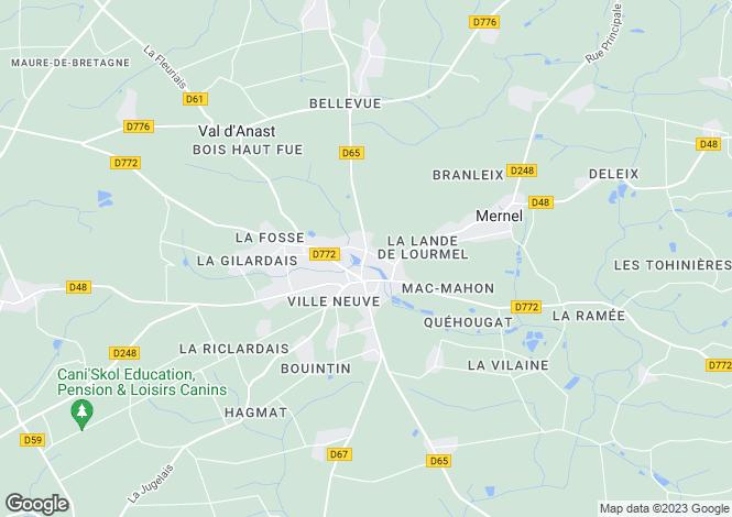 Map for maure-de-bretagne, Ille-et-Vilaine, France