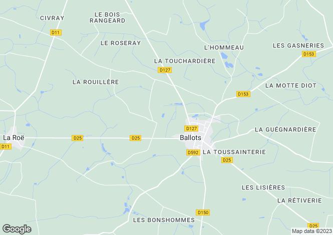 Map for ballots, Mayenne, France