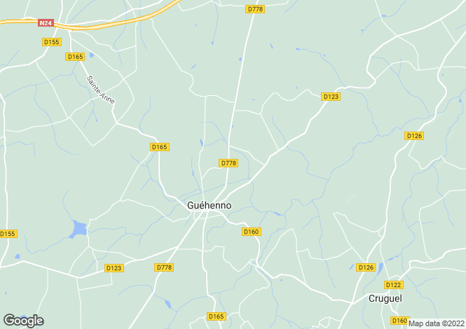 Map for Guéhenno, Morbihan, Brittany