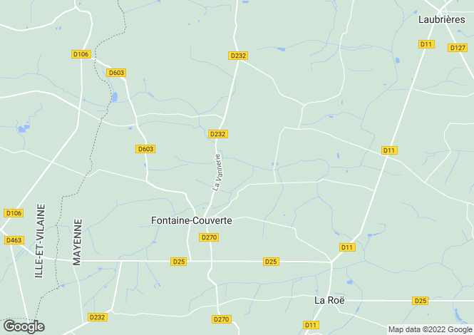 Map for fontaine-couverte, Mayenne, France