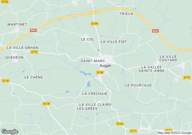 Map for Augan, Morbihan, 56800, France