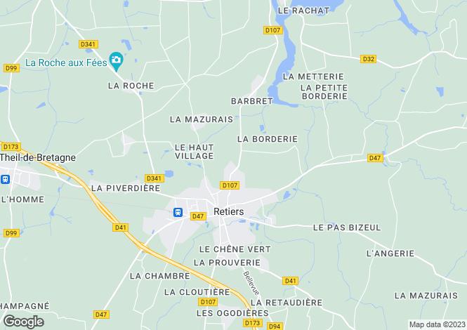 Map for retiers, Ille-et-Vilaine, France