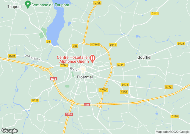 Map for ploermel, Morbihan, France