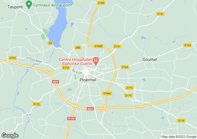 Map for Ploermel, Morbihan, 56800, France