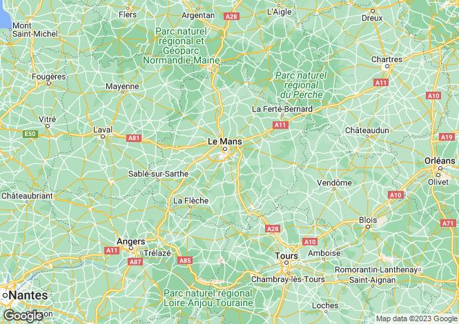 Map for Pays de la Loire, Sarthe