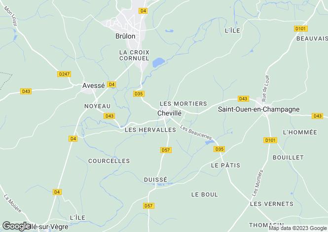 Map for Pays de la Loire, Sarthe, Chevillé