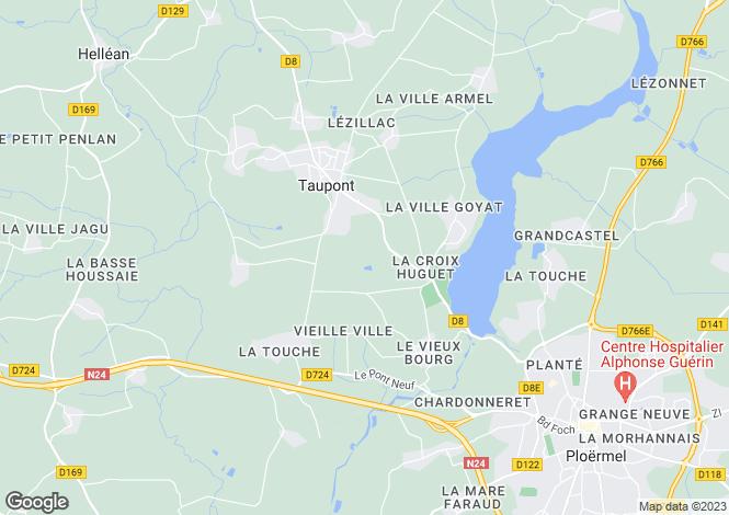 Map for taupont, Morbihan, France