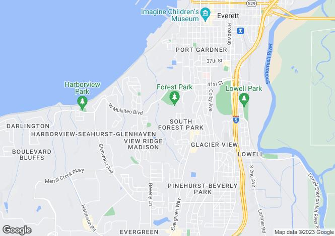 Map for USA - Washington, Snohomish County, Everett