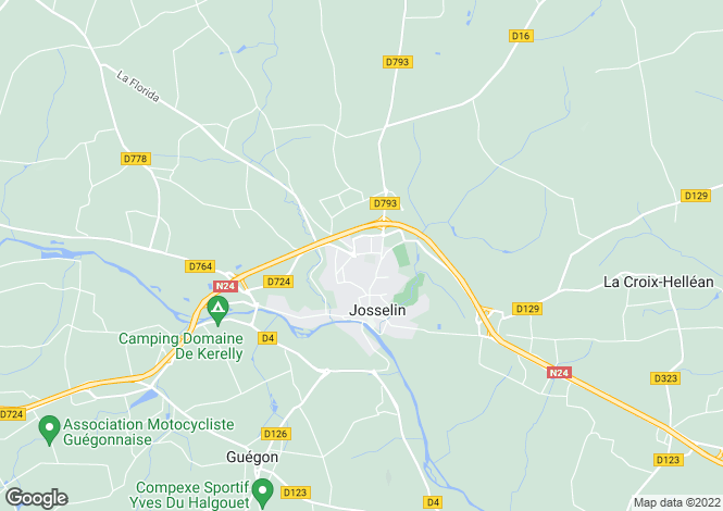 Map for Josselin, Morbihan, 56120, France