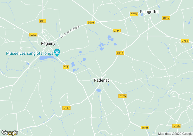 Map for Radenac, Morbihan, Brittany