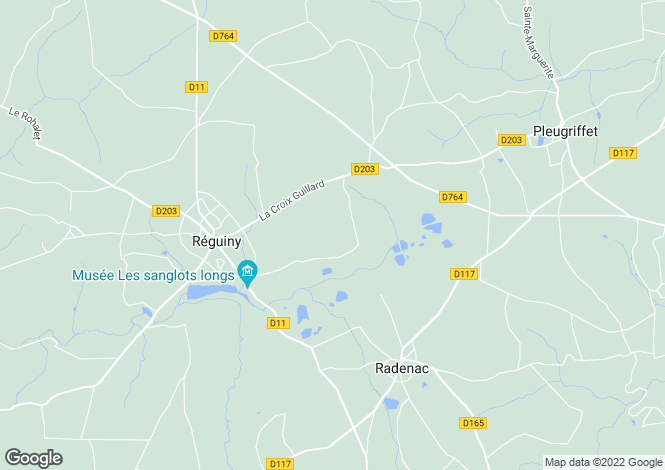 Map for Réguiny, Morbihan, Brittany