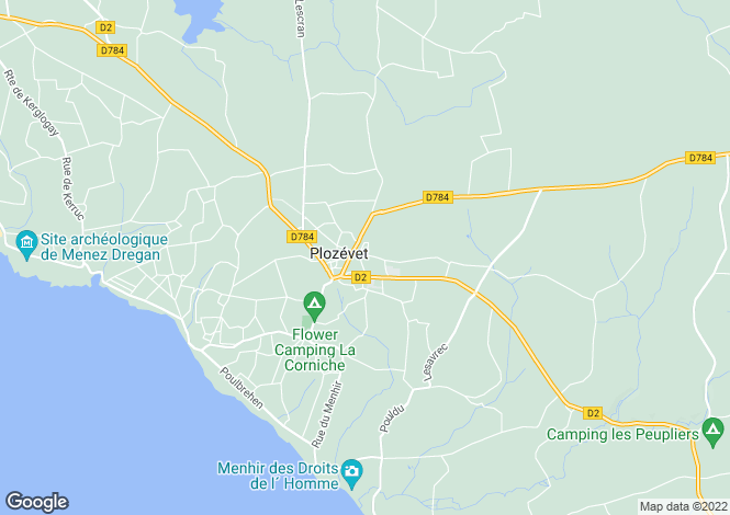 Map for Plozévet, Finistère, Brittany