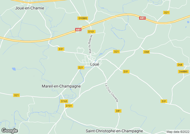 Map for Loué, Sarthe, Pays de la Loire