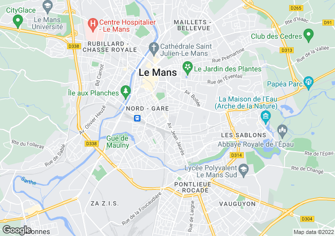 Map for Le Mans, Sarthe, North West France