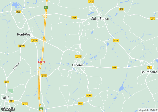 Map for ORGERES, Bretagne