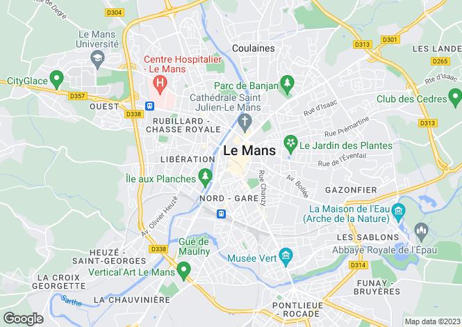 Map for Pays de la Loire, Sarthe, Le Mans