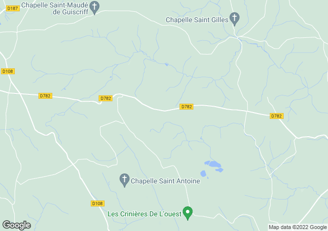 Map for Guiscriff, Morbihan, Brittany