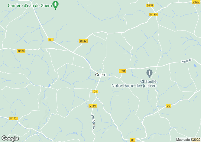 Map for guern, Morbihan, France