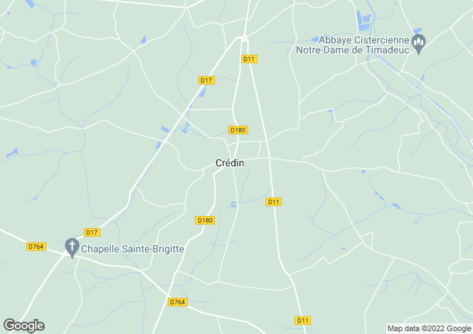 Map for Brittany, Morbihan, Crédin