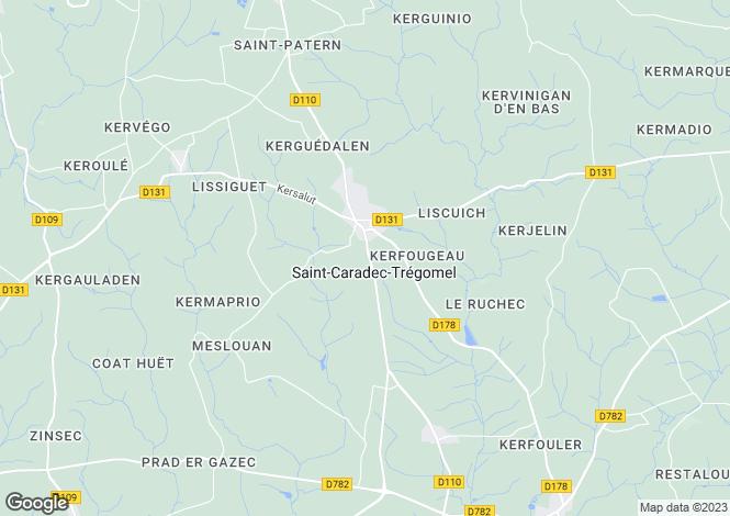 Map for Brittany, Morbihan, St-Caradec-Trégomel