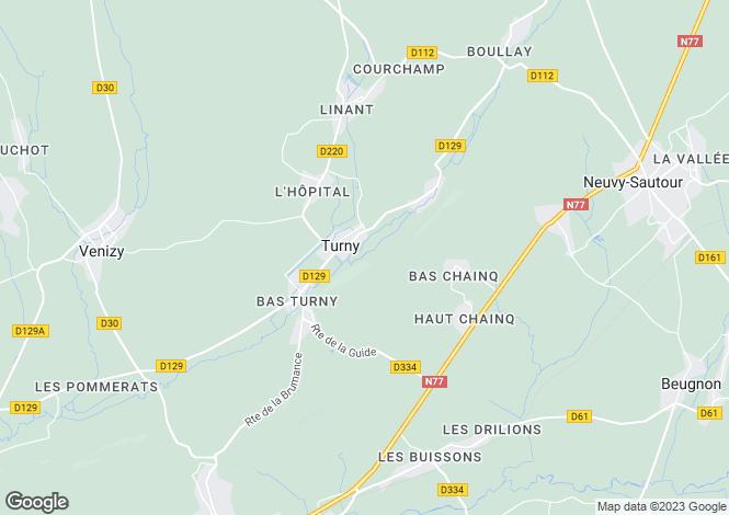 Map for TURNY, Bourgogne
