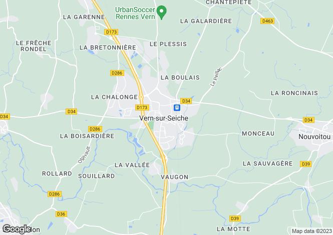 Map for vern-sur-seiche, Ille-et-Vilaine, France
