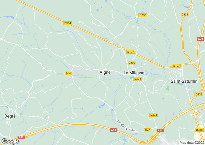 Map for aigne, Sarthe, France
