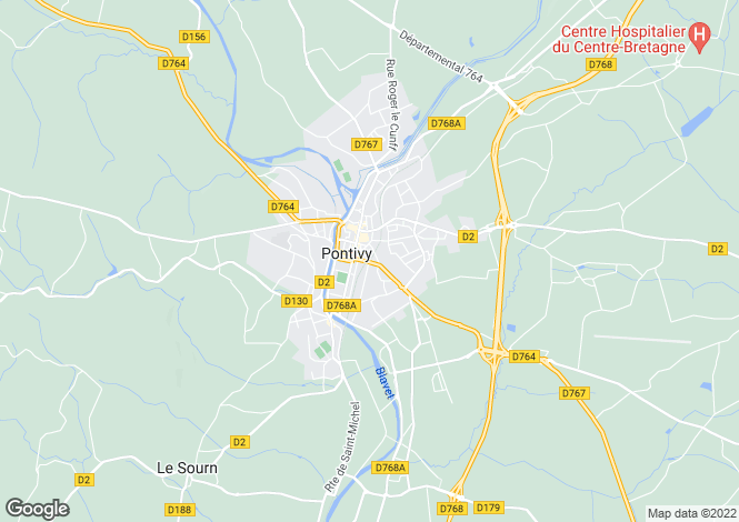 Map for pontivy, Morbihan, France