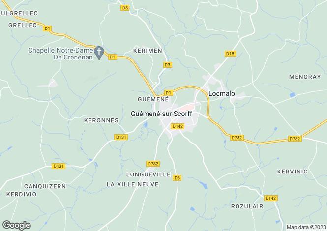 Map for Brittany, Morbihan, St. Caradec Tregomel