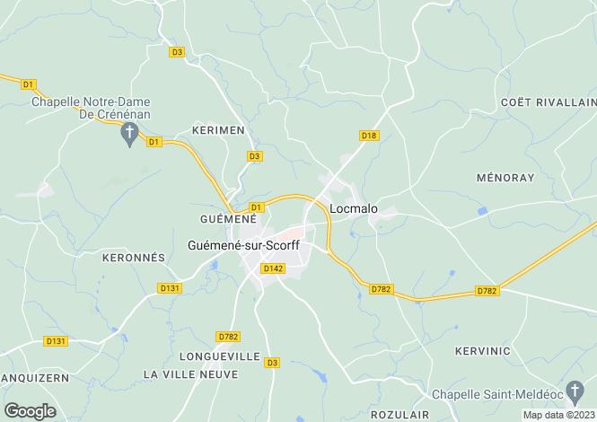 Map for Guémené-sur-Scorff, 56160, France