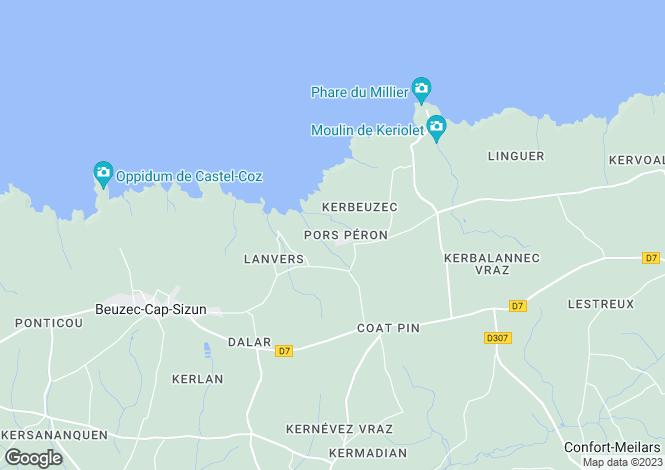 Map for Beuzec-Cap-Sizun, Finistère, Brittany