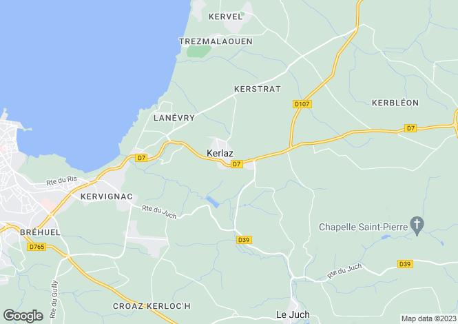 Map for kerlaz, Finistère, France