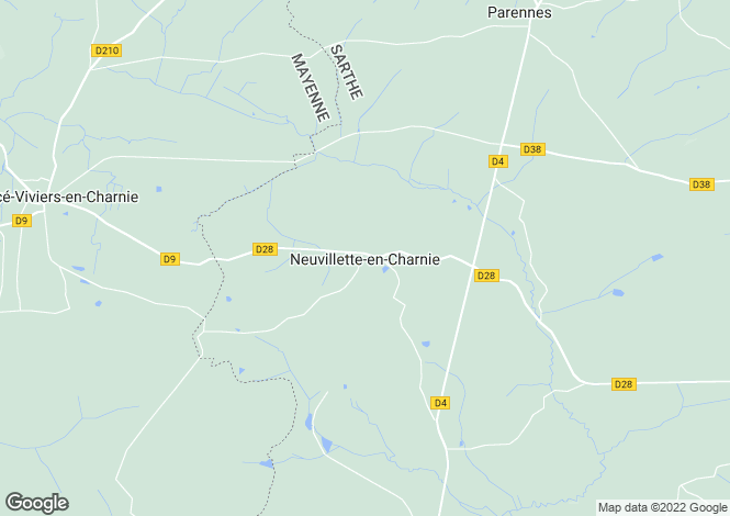 Map for neuvillette-en-charnie, Sarthe, France