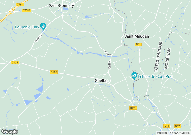 Map for Brittany, Morbihan, Gueltas