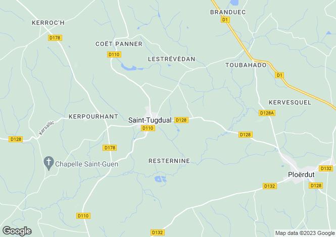 Map for Bretagne, Morbihan, Saint-Tugdual