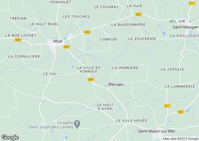 Map for bleruais, Ille-et-Vilaine, France