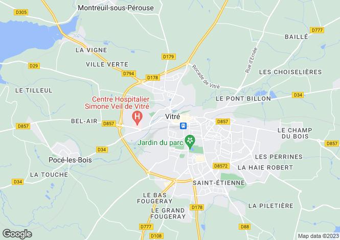 Map for vitre, Ille-et-Vilaine, France