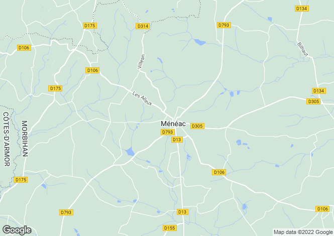 Map for Brittany, Morbihan, Ménéac