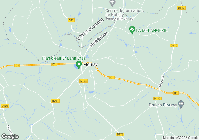 Map for plouray, Morbihan, France